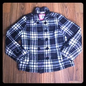 Girls justice pea coat black and white